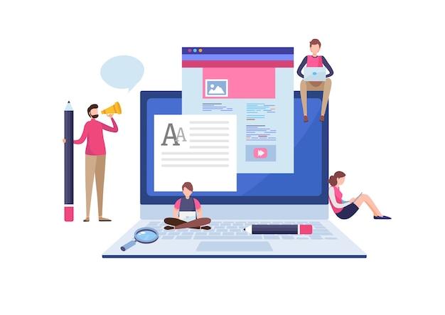 Blogger escrevendo o blog. Vetor Premium