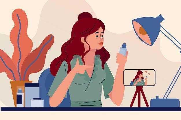 Blogger feminino, revendo a ilustração de produtos Vetor grátis