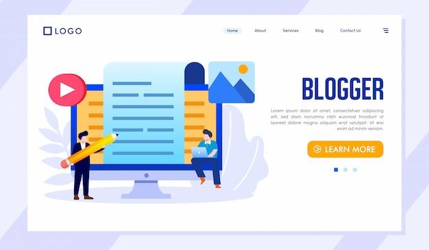 Blogger landing page site ilustração vector Vetor Premium
