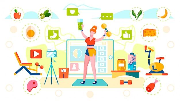 Blogger nutrição saudável e estilo de vida esportivo Vetor Premium