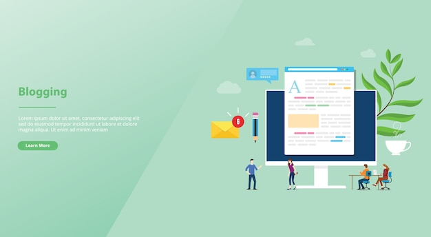Blogging ou blog conceito criativo com computador portátil e desenvolvimento de conteúdo com as pessoas da equipe para o site template landing page Vetor Premium