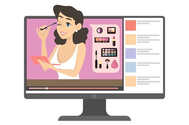 Blogueira de maquiagem feminina na internet. conteúdo de vídeo com mulher fazendo tutorial de maquiagem. beleza e moda. ilustração em estilo cartoon. Vetor Premium