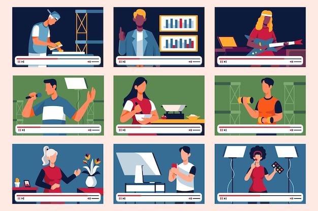 Blogueiros na coleção de telas Vetor grátis