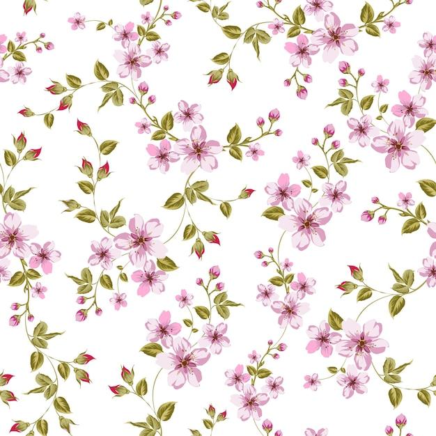Blooming sakura seamless pattern Vetor grátis