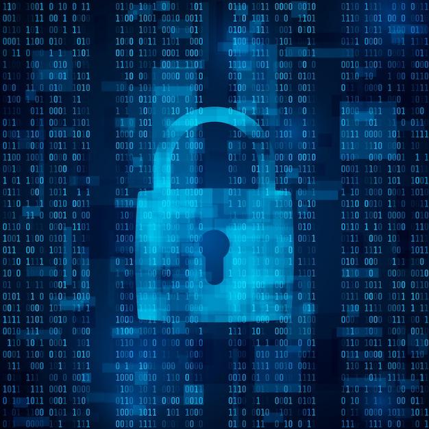Bloqueio de ataque de hackers. proteção de dados contra hackers. software antivírus. cíber segurança. criptografia de dados Vetor Premium