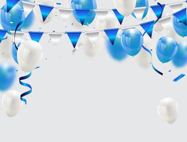 Blue balloons confetti and ribbons fundo de celebração Vetor Premium