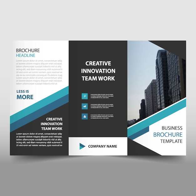 Blue business trifold folheto folheto flyer template Vetor grátis
