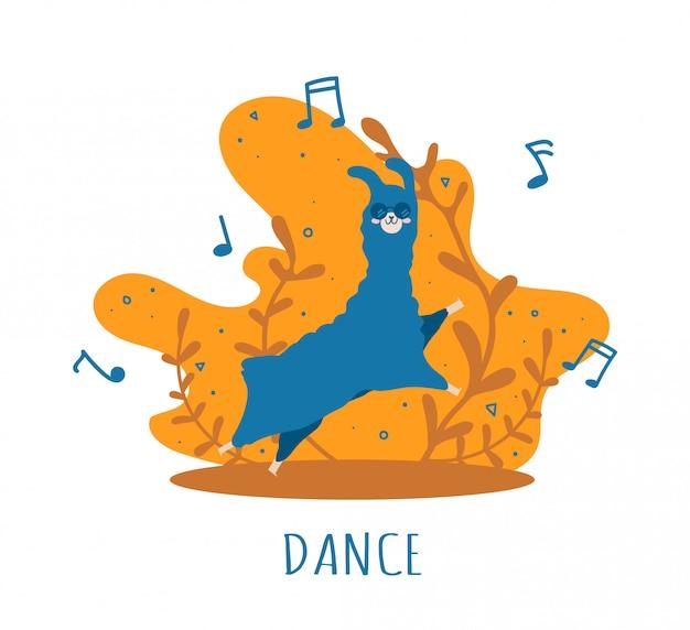 Blue llama apaixonada por notas musicais e muitos detalhes. alpaca fofa. Vetor Premium