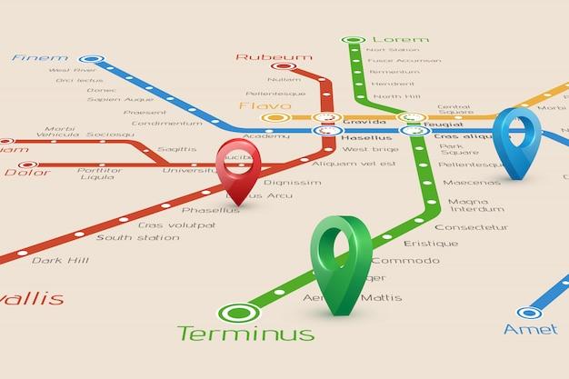 Blured mapa das rotas do metrô e ponteiros Vetor Premium