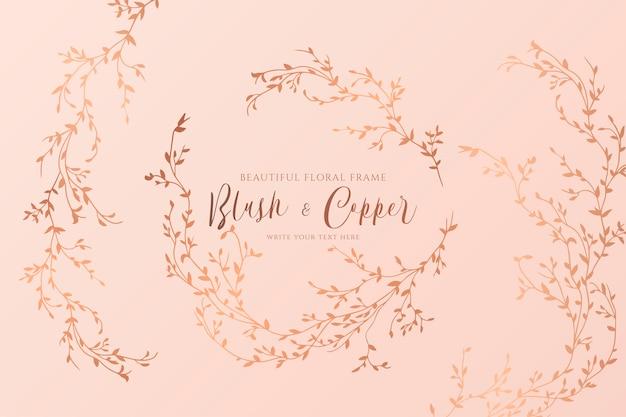 Blush e cobre floral com ramos desenhados à mão Vetor grátis