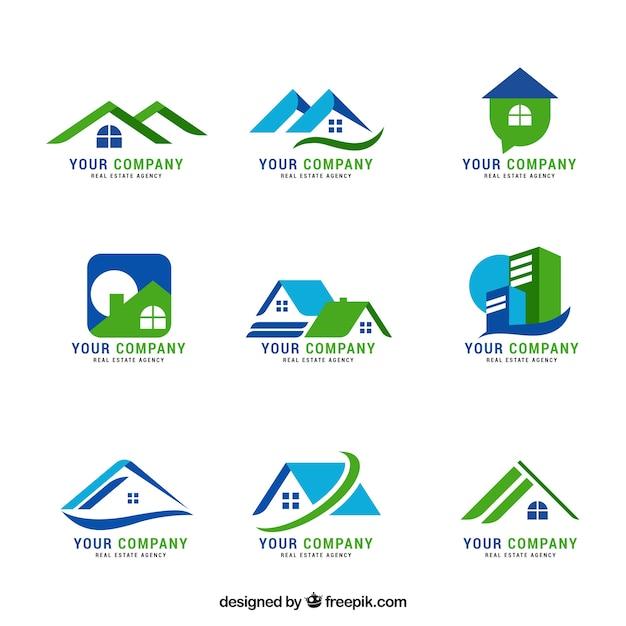 Boa coleção de logotipos imobiliários Vetor grátis