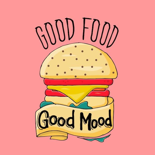 Boa comida bom humor Vetor Premium