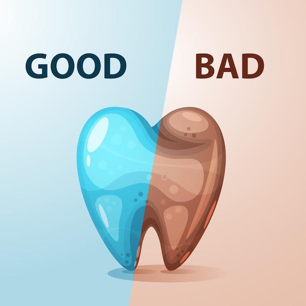 Boa e má ilustração do dente Vetor Premium