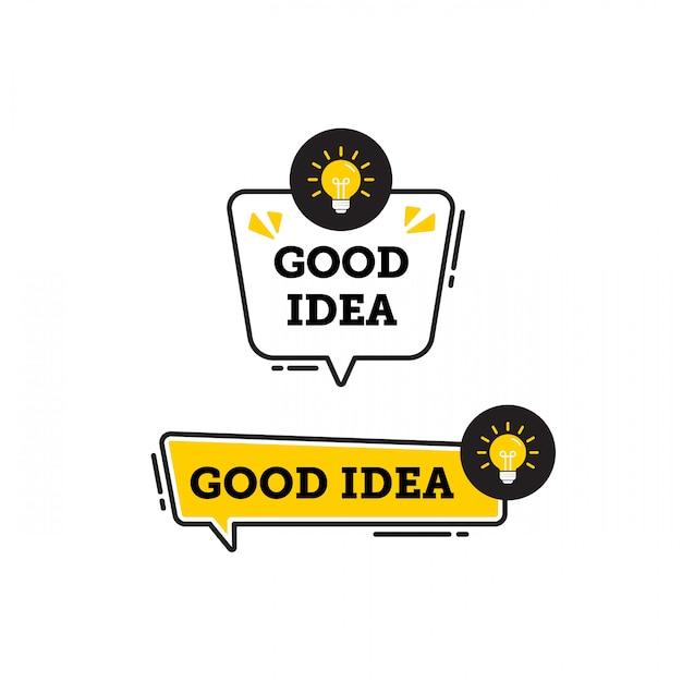 Boa idéia vector logo ícone ou símbolo conjunto com elemento de linha preto amarelo apropriado para web e mídia social se comunicar. emblemas e banners vector conjunto isolado no fundo branco Vetor Premium