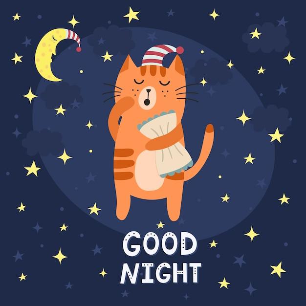 Boa noite cartão com um lindo gato sonolento. Vetor Premium