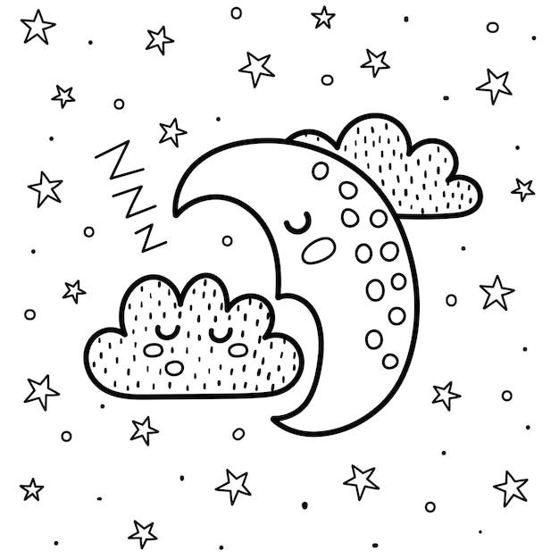 Boa noite para colorir com uma linda lua e uma nuvem dormindo. fundo de fantasia em preto e branco. impressão de bons sonhos para colorir livro para crianças. ilustração Vetor Premium
