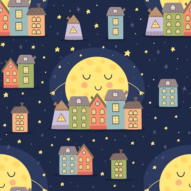 Boa noite sem costura padrão com lua dormindo e paisagem da cidade dos desenhos animados. ilustração vetorial Vetor Premium