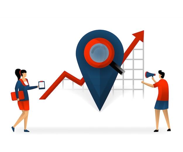 Boa palavra-chave e seleção de seo com base na localização e região Vetor Premium