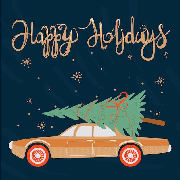 Boas festas. cartão de natal Vetor Premium