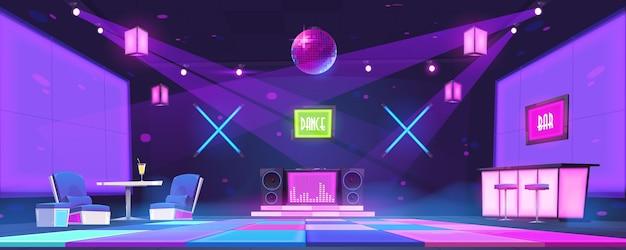 Boate com balcão de bar, mesas, console de dj e pista de dança iluminada por bola de discoteca e holofotes. interior de desenho vetorial de festa à noite na discoteca com cena brilhante e lâmpadas de néon Vetor grátis