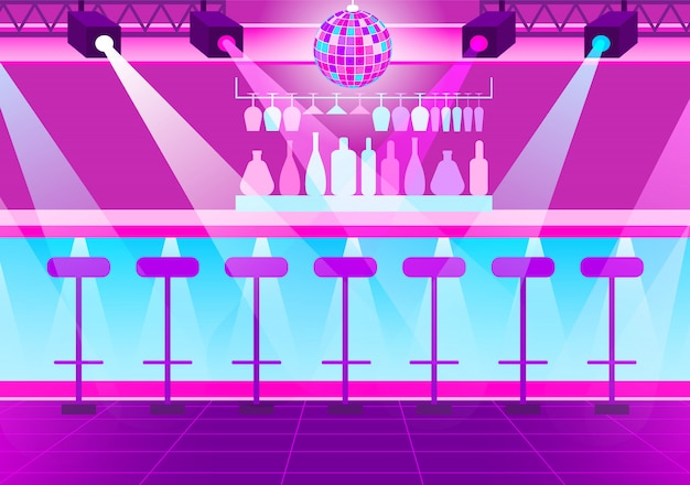 Boate vazia, bola de discoteca e holofotes brilhantes Vetor Premium