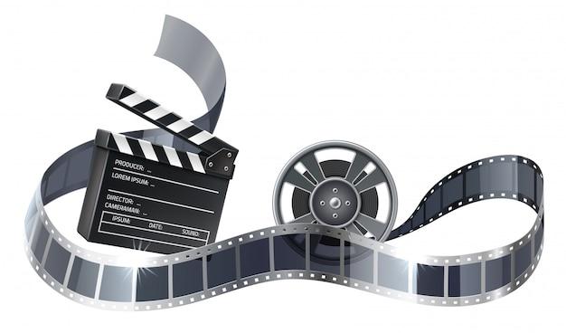 Bobina de filme 3d vector ou bobina com tira de filme Vetor Premium