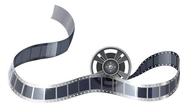 Bobina de filme realista ou bobina com tira de filme para entretenimento no cinema. Vetor Premium