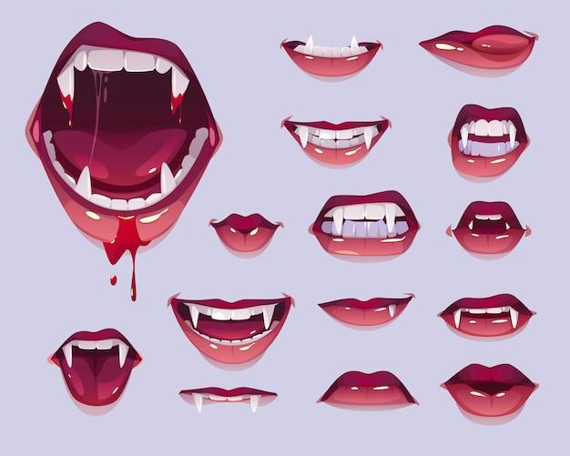 Boca de vampiro com presas conjunto, lábios vermelhos femininos Vetor grátis