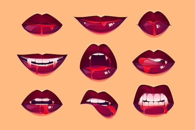 Boca de vampiro com presas definidas Vetor grátis