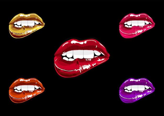 Boca definir pop art. coleção de remendo de lábios Vetor Premium