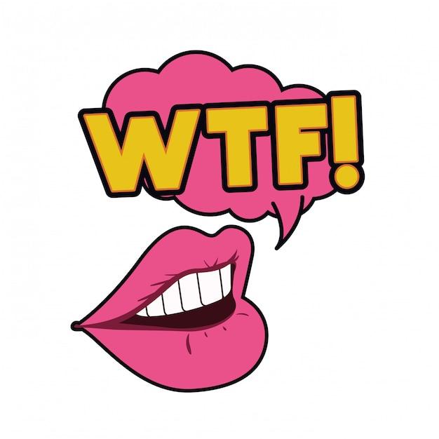 Boca feminina com ícone isolado de bolha do discurso Vetor Premium