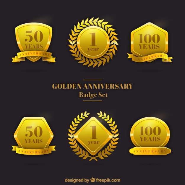 Bodas de ouro conjunto badge Vetor grátis