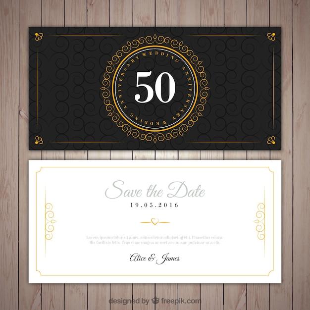 Bodas de ouro elegante convite Vetor Premium