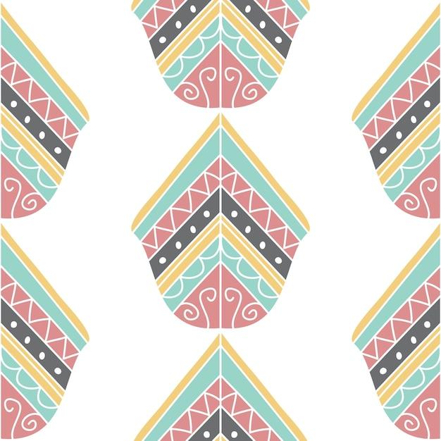 Boho bohemian doodle art pattern Vetor Premium
