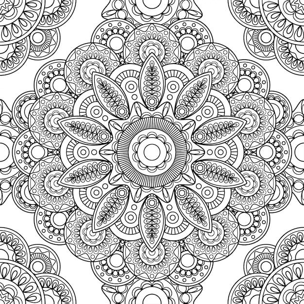 Boho doodle padrão sem emenda Vetor Premium