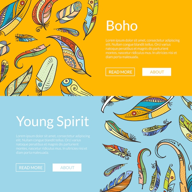 Boho doodle penas conjunto de modelos de banner web Vetor Premium