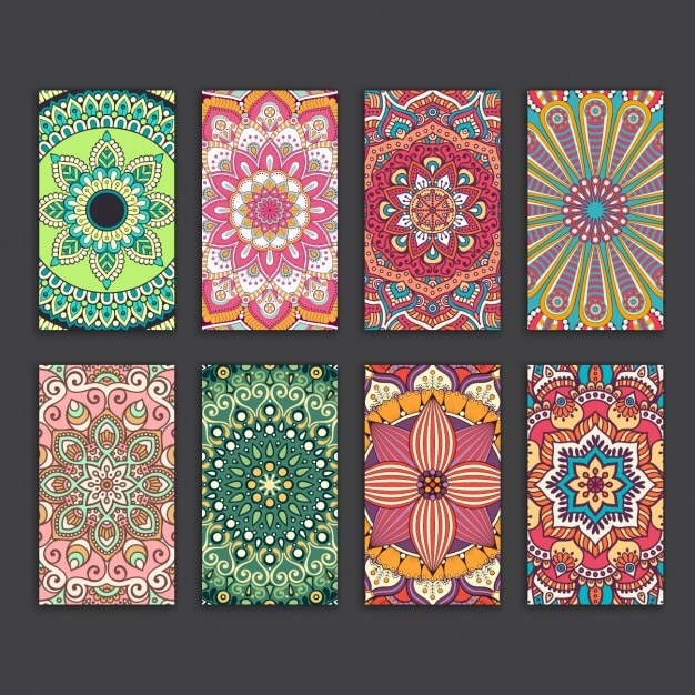 Boho estilo coleção cartões Vetor grátis
