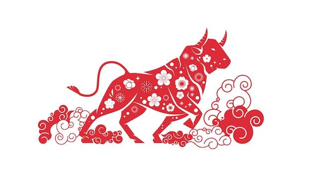 Boi, touro, búfalo, ícone, chinês, feliz, ano novo, pôster, ilustração vetorial horizontal sinal do zodíaco Vetor Premium