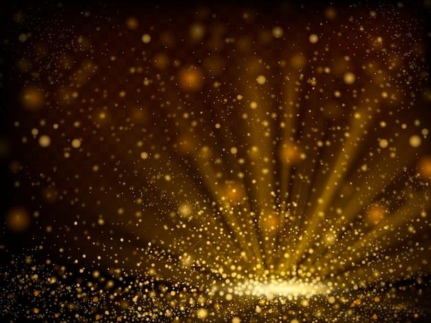 Bokeh abstrato brilhante de fundo de pó dourado na ilustração 3d Vetor Premium