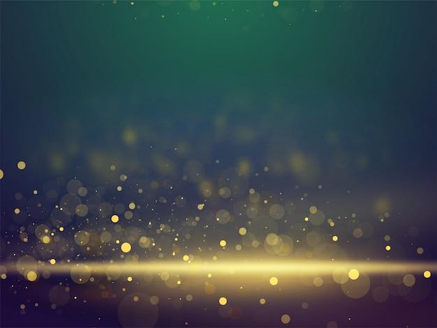 Bokeh brilhante brilhante iluminação abstrata turva fundo. Vetor Premium