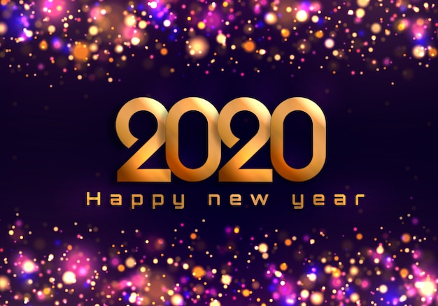 Bokeh sparkle fundo de natal 2020, luzes de ano novo. Vetor Premium