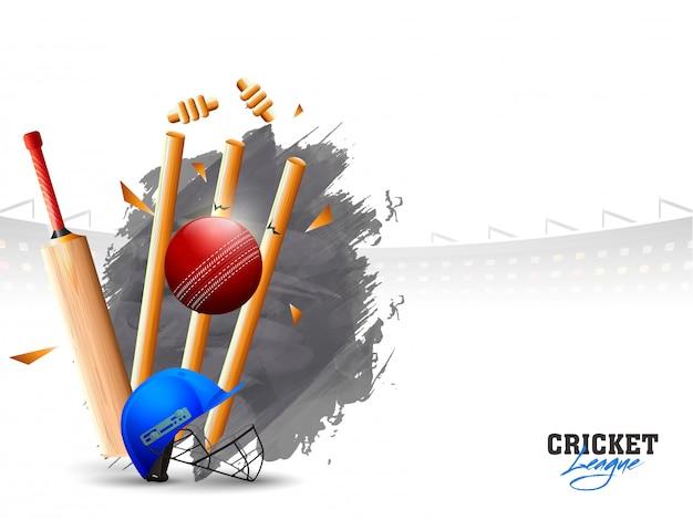 Bola, bater, a, wicket, tocos Vetor Premium