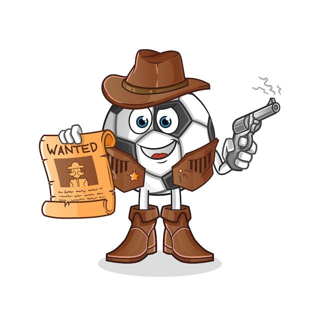 Bola cowboy segurando arma e personagem de ilustração de cartaz de procurado Vetor Premium