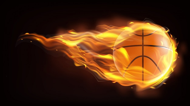 Bola de basquete voando em chamas vetor realista Vetor grátis
