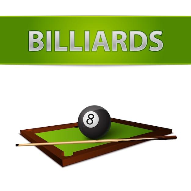 Bola de bilhar com vara no emblema de mesa verde Vetor grátis