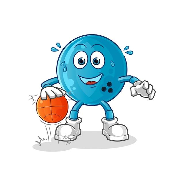 Bola de boliche driblar o personagem de basquete. mascote dos desenhos animados Vetor Premium