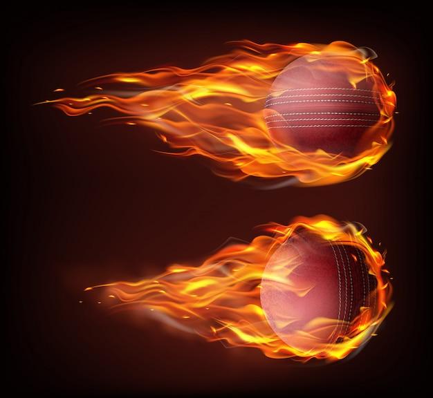 Bola de críquete voador realista em fogo Vetor grátis