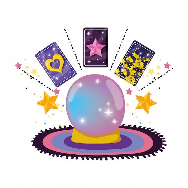 Bola de cristal de conto de fadas com cartas da fortuna Vetor Premium