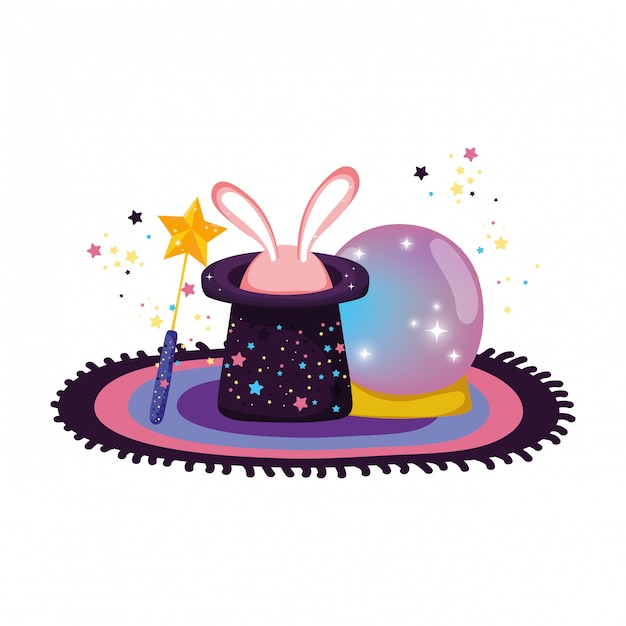 Bola de cristal de conto de fadas com coelho de chapéu e orelhas Vetor Premium