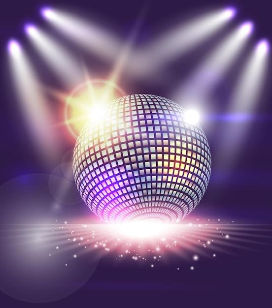 Bola de discoteca com luzes abstratas Vetor Premium